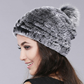 Winter beanies fur hat for women knitted rex rabbit fur hat with fox pom pom