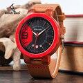 BOBO BIRD кварцевые часы с календарем и красным деревянным чехлом  повседневные кожаные часы Relogio Masculino J-Q20