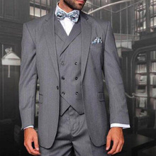 Gray Business Party Men Suits 2018 Style Notched Lapel Three Piece Wedding Groom Tuxedos Custom Made (Jacket + Pants Vest)