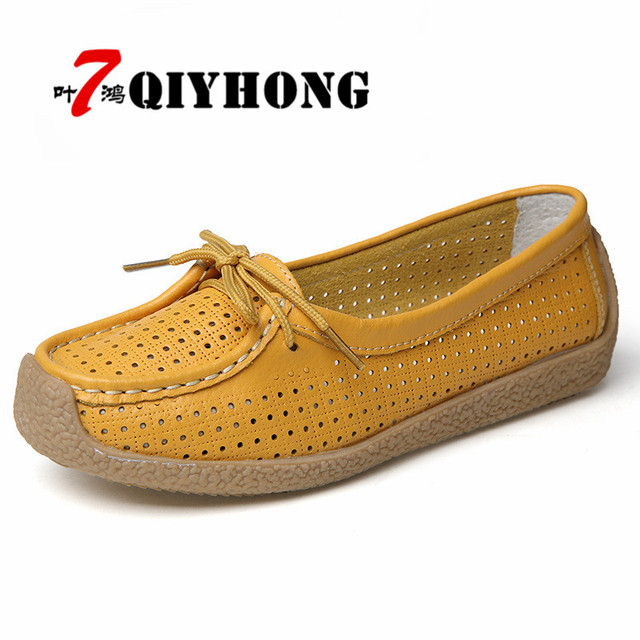 e6b9769e8d1 2018 Summer Women Flat Shoes Women Genuine Leather Shoes Ladies Cutout  Loafers Lace Up Ballet Flats Oxford Boat Shoes