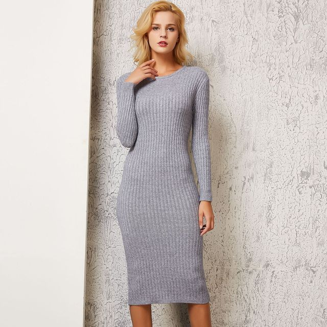 fb0aec8111e Yanueun 2018 Autumn and Winter New Twisted Round Neck Basic Knitted Midi  Dress Women s Knitted Ribbed