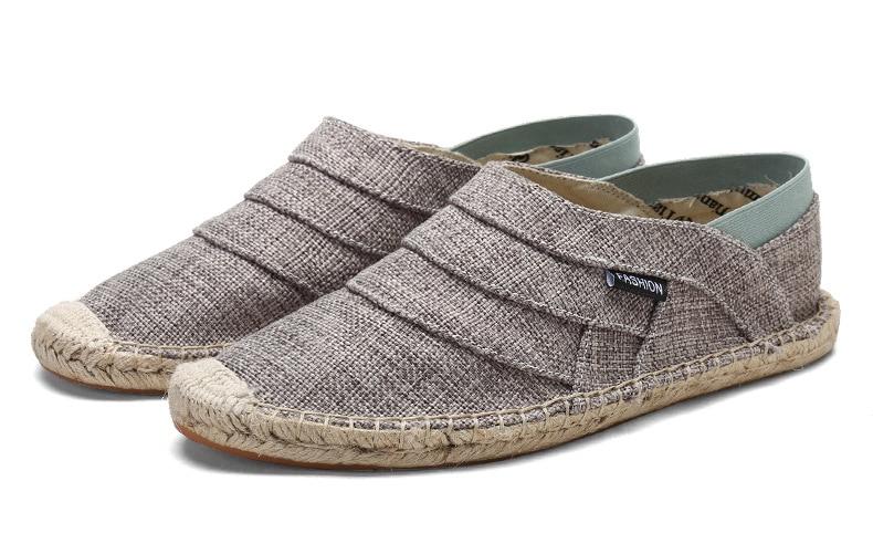Men Canvas Hemp Shoes Breathable Flats Slip-on Casual Fisherman Shoes Men Walking Shoes Comfortable ...