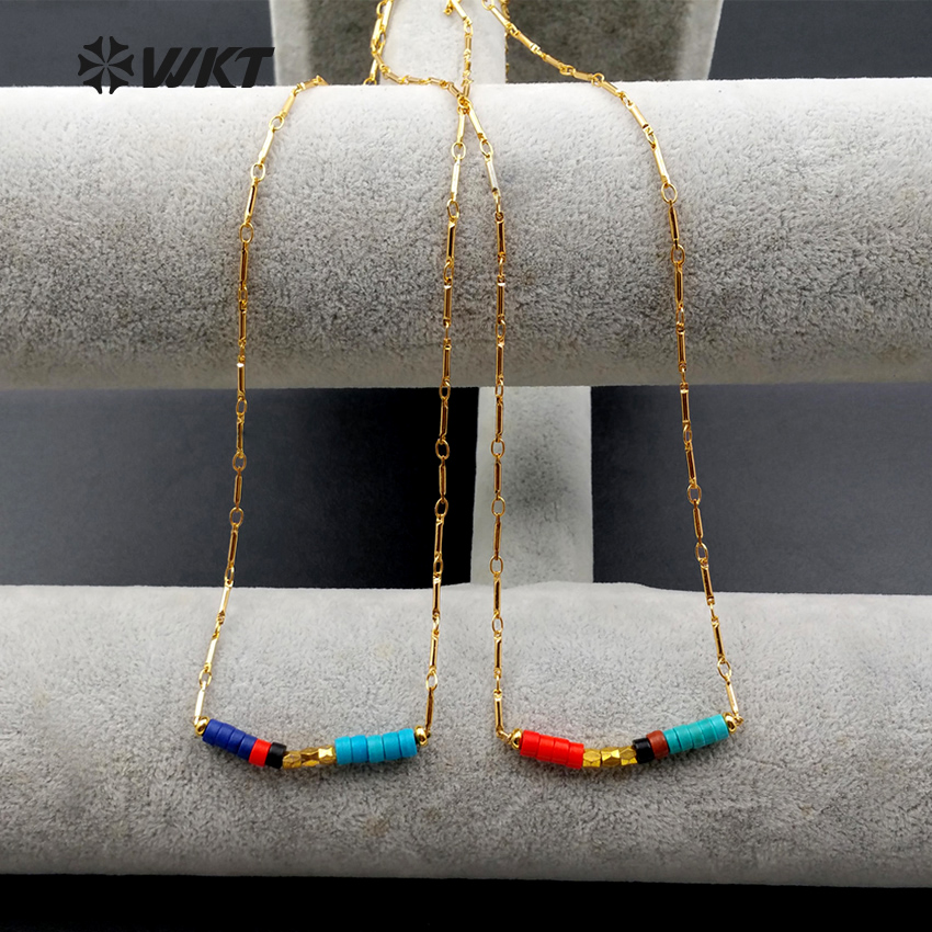 WT N1028 Wholesale 10pieces lot Fashion Jewelry Multicolor Beads Necklace Tiny Colorful Boho Minimalist Necklace For
