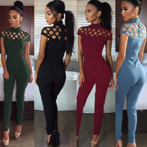 2018 New Womens Clothes Jumpsuits Choker High Neck Caged Sleeve