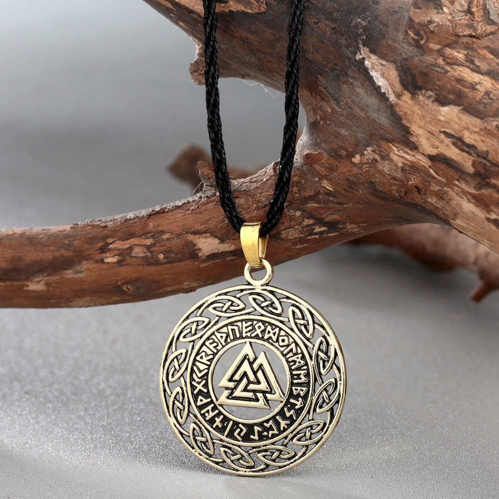 Chengxun Celtic Infinity Knot Rune Rahasia Norse Valknut Viking Wikinger Pesona Liontin Perhiasan