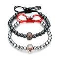Anil Arjandas Men Black Hematite Stone Macrame Bead Bracelets Female Elastic Skull Charm Bracelet Bangle for regalos mujer F3223