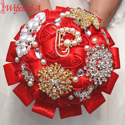 Wifelai a 1piece exquisite red rose flowers throw wedding bouquet luxury peacock gold diamonds bridal silk.jpg 250x250