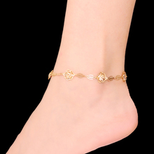2016 Newest Sexy Beach Rhinestones Anklets for Women Flower and Leaf Gold and Silver Plated Bracelet on The Leg AK-003