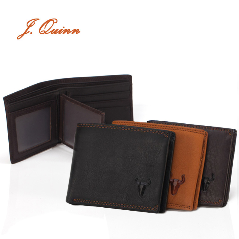 J.Quinn Men Portfolio Leather Wallet Business 8 Card Small Short Thread Dollar Purse Genuine Cow New Fashion Zipper Wallets 2017