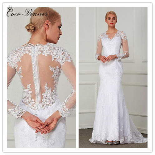 C.V Vestido De Noiva Appliques Mermaid Wedding dress Sexy Long Sleeve See Through Lace Bridal Gown Wedding Dresses W0021