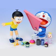 10cm Nobi Robot Pokonyan Doraemon Figure Three Kinds Of Faces Five Pairs Of Eyes Action Figure PVC toys for Child gift