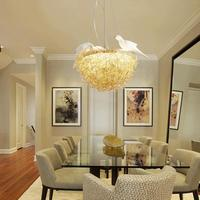 Round LED Hanging Lamp Nordic Pendant Lights Bedroom Lampara Techo Congante Living Room Bird's Nest Hanglamp Luminaire Suspendu