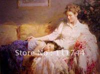 Moder art pittura del Ritratto madre e childern Innocenza di Pino Daeni Alta qualità 100% dipinto a mano