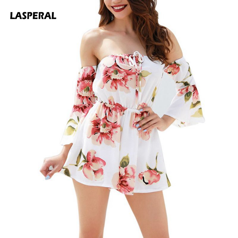LASPERAL Jumpsuit 2018 New Summer Women Off Shoulder Slash Neck Backless Bandage Sexy Rompers Print Floral Playsuits Jumpsuits
