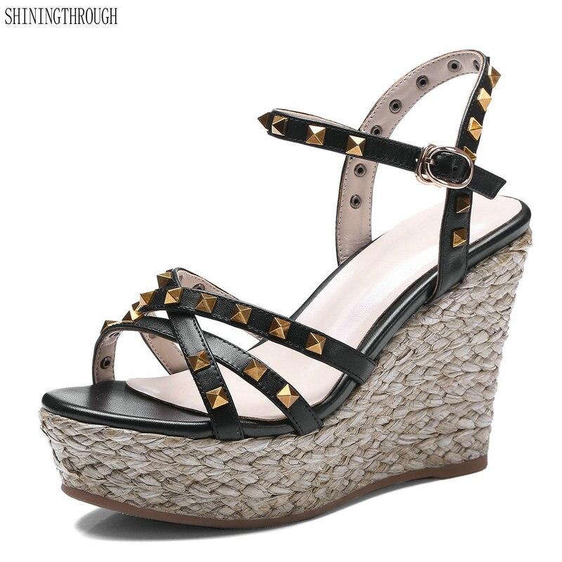 High Heel Wedge Sandals woman cow leather Rivets Design summer shoes Lady platform dress shoes black