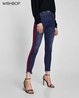 2018 Summer New Woman Fashion Blue Denim Skinny Jeans Frayed Hem Trousers Sides RED Striped with Pockets