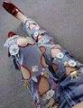 2016 Otoño Del Patrón Del Corazón Imprimió Agujero Rasgado Mujeres Boyfriend Jeans Harem Flojo Causal de Lentejuelas Diamantes Bordado Hueco Jean