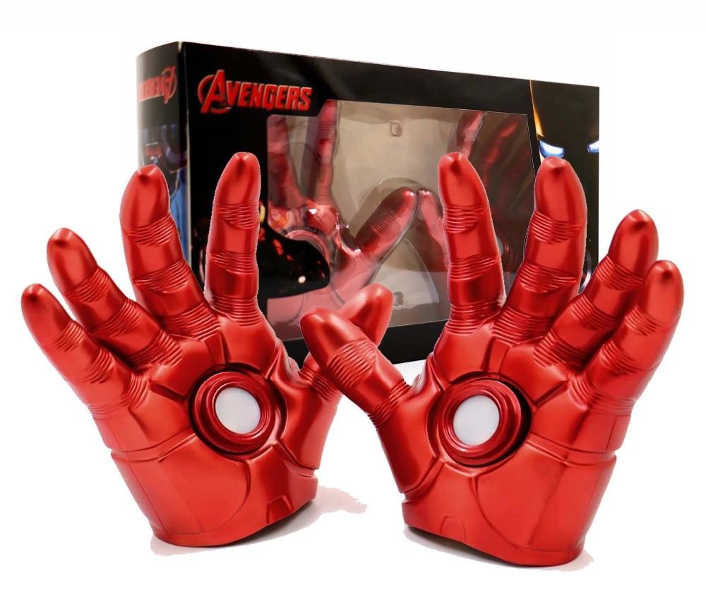 Iron Man The Avengers Gauntlet 1:1 LED Light Laser Gloves Kids Cosplay Props