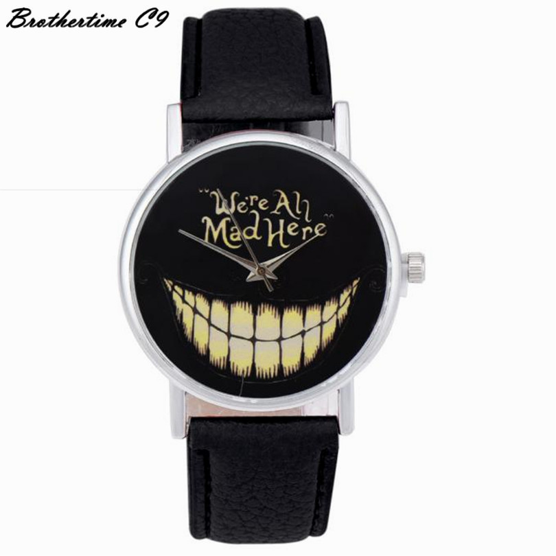 2017 Luxury Fashion women watch  WE ARE ALL MAD HERE Watch Evil Smile Emoji PU Leather Quartz Wrist Watches relogio feminino you are here