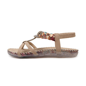 Image 3 - BEYARNE Sandalias bohemias con diamantes de imitación para mujer, zapatos planos con diamantes de imitación, informales, étnicos, para playa, talla grande 45