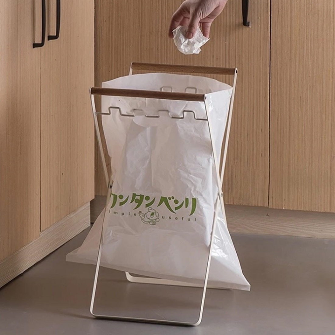 Folding Iron Art Garbage Bag Bracket Rubbish Storage Rack Black White Home Organization