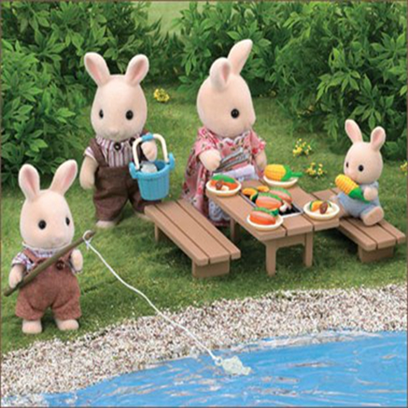 plastic dollhouse furniture sets. new genuine sylvanian families miniature fishing barbecue set dollhouse furniture cute kids pretend toys desk chairs plastic sets i