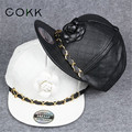 COKK Flower Gold Chain Pu Leather Baseball Cap Snapback Hats For Men Women Hip Hop Caps Adjustable Bone Gorro Flat Cap Casquette