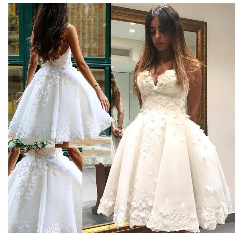 Short Informal Wedding Dress 2019  Beach White Bride Dresses  vestido de noiva Hot Sale 3D Flowers Ball gown Wedding Dresses