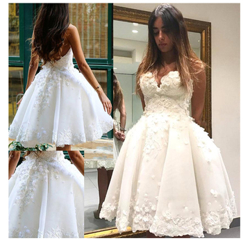 Short Informal Wedding Dress 2019 White Bride Dresses vestido de noiva Hot Sale 3D Flowers Ball gown