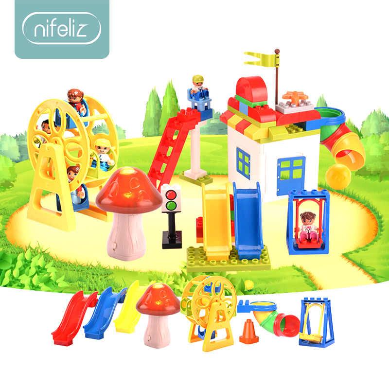 Children Building Blocks Big Size 216pcs Amusement Park Marble Run Model Building Toys Kids Educational Toy Compatible LegoINGly