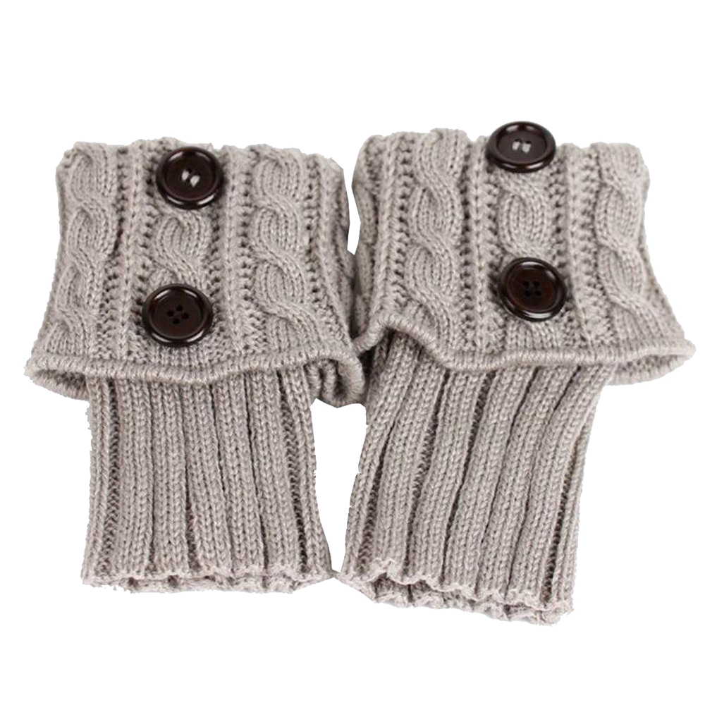 Woven Twisted Socks Leg Warmer Boot Socks Hot Socks (gray)