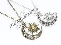 New Vintage Silver Bronze Crescent Moon Sun Charm Crescent Moon Sun Pendant Necklace Fashion Jewelry Gift