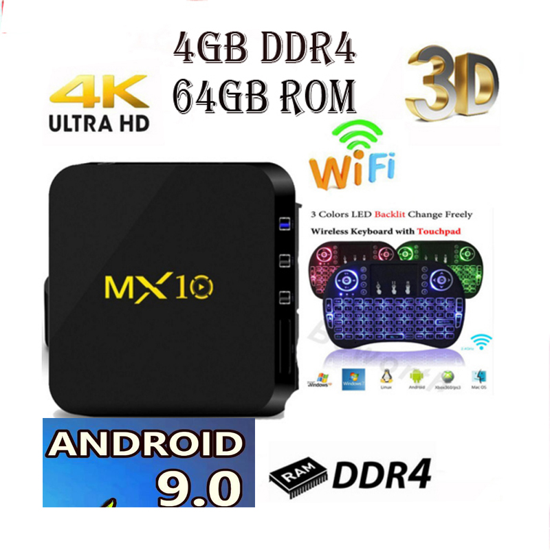 MX 10 tv box Android 8,1/9,0 mx10 4 Гб DDR4 32 ГБ/64 Гб RK3328 4 ядра KD18.0 4 K 2,4 ГГц WI-FI USB 3,0 vs t9 tv box h96 max plus