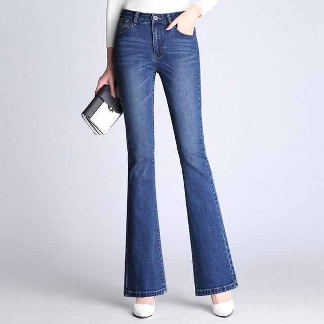 2129042a44c Women Plus Size Bleached Vintage Elastic Flare Jeans Elegant wide leg  Stretch Ladies Jeans Blue Office Denim Pants ZIH068