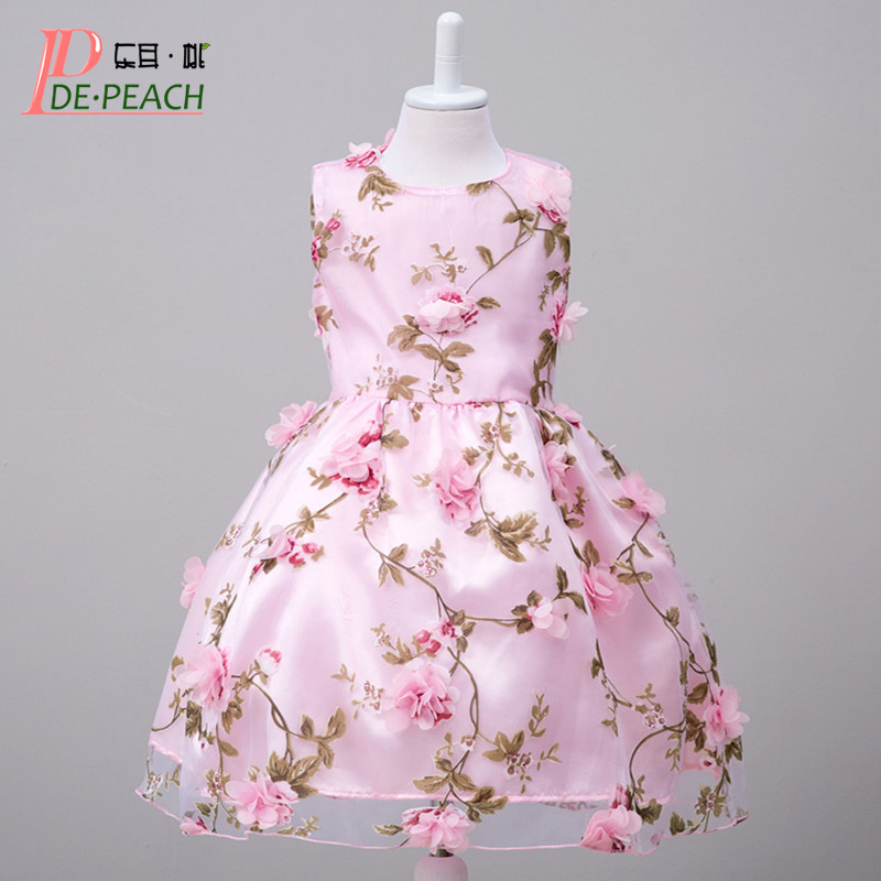 New Baby Girls Dress 2017 Summer Party Dress Sleeveless Floral Girls Dresses Princess Chiffon Children Flowers Clothes Vestido america on record