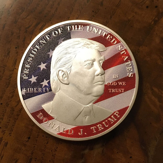 100 Pcs Lot 2017 Make Us Great Again Colored Coins Donald Trump Silver Plated Liberty