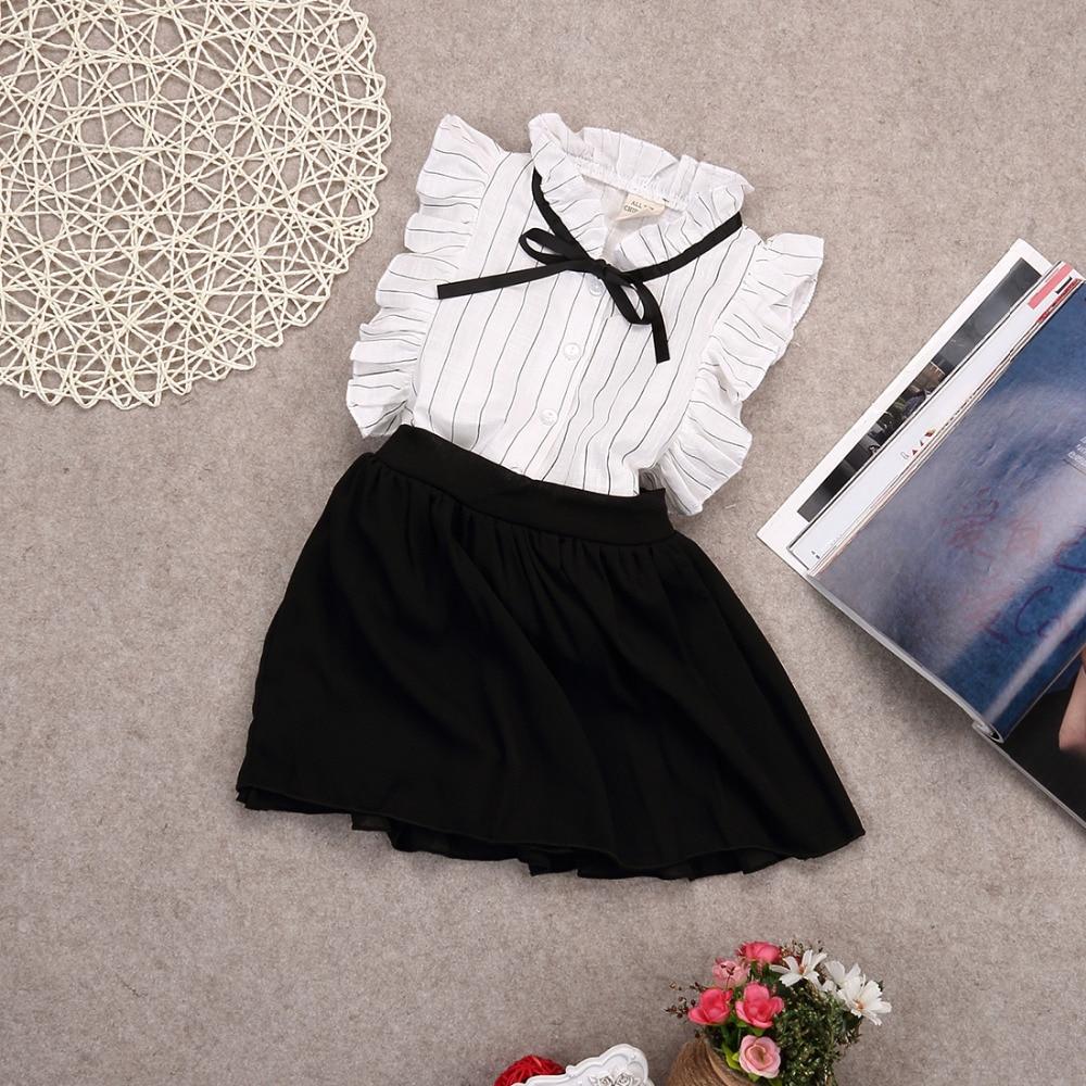 2pcs Fashion Toddler Kids Baby Girls Outfits Elegant White Sleeveless White Stripe Bow Blouse Tops+Shorts Skirt Clothes Set 2-7Y