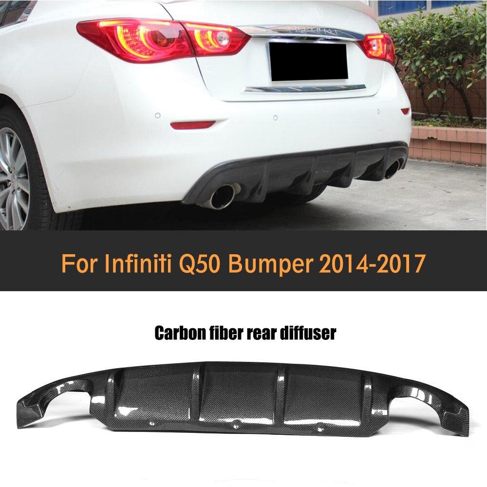 Carbon Fiber Rear Lip Diffuser Tain Bumper Boot lip diffuse spoiler for Infiniti Q50 2013 - 2017 Auto Racing Car Styling