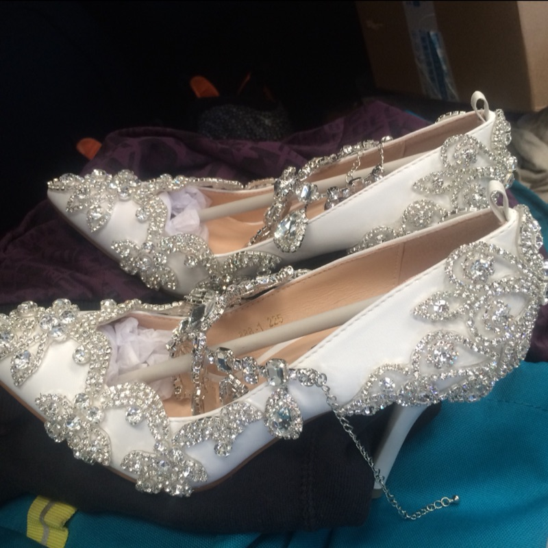 Pointed toe rhinestone ultra high heels wedding shoes banquet formal dress shoes luxury crystal tassel ankle
