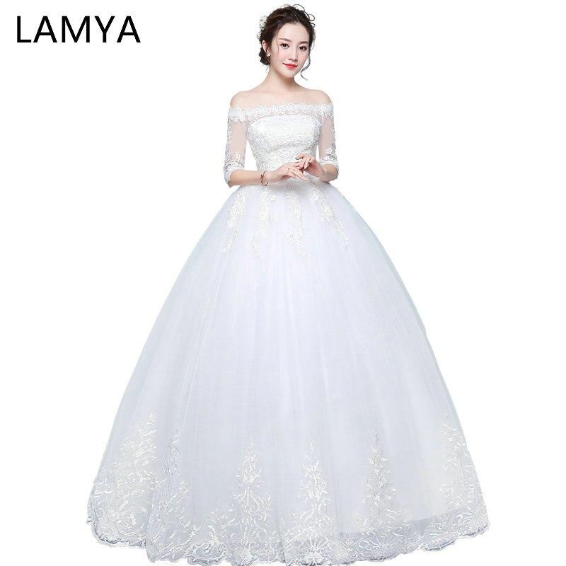LAMYA Wedding Dresses With Haft Lace Sleeve 2019 Princess Elegant Bridal Gown Vintage Vestidos de Novia Real Photo