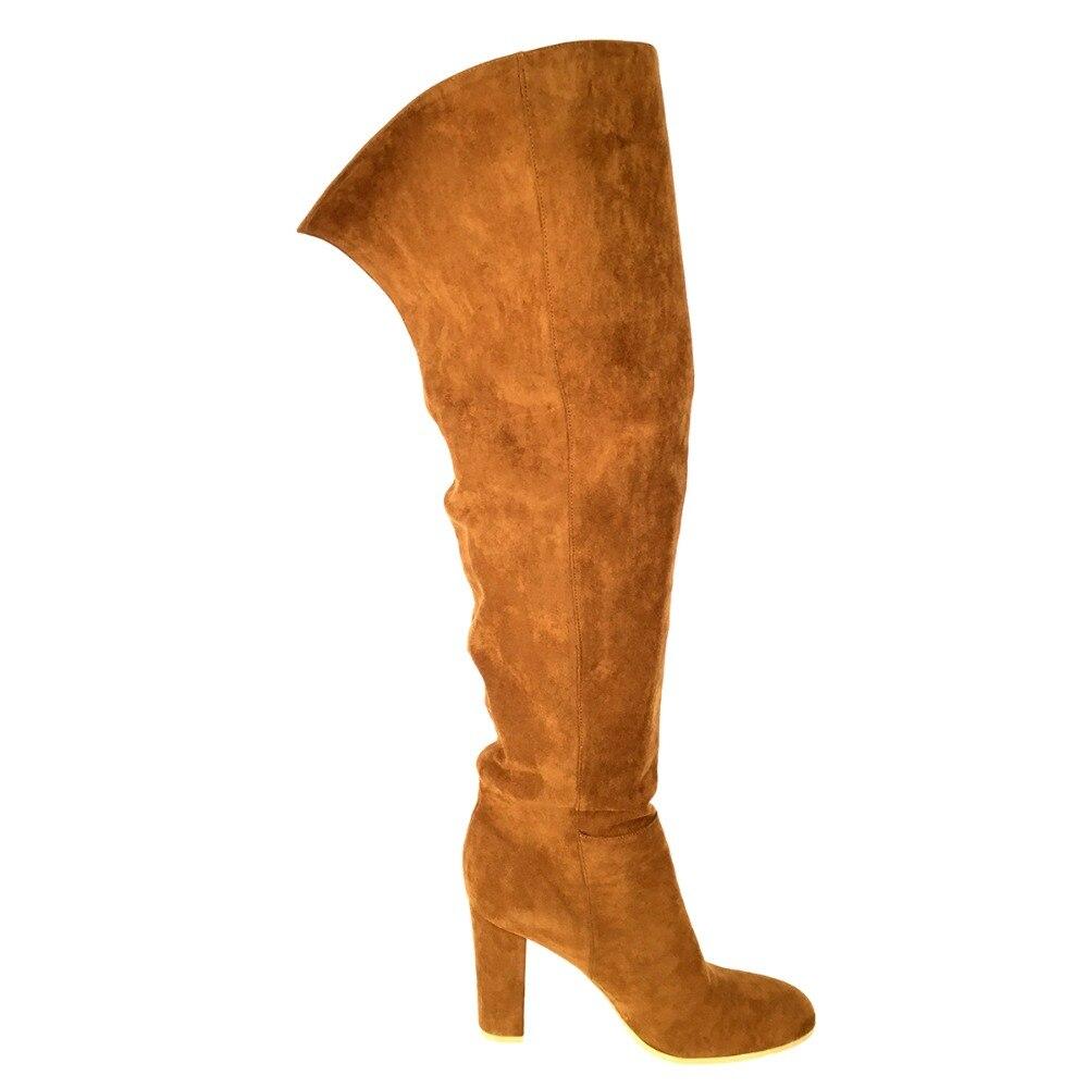 Talón Las Rodilla Mujeres Botas Cálido Brown 17 Slip Bloque Señoras Sobre  Ronda Aiyoway Alto Tamaño Moda ... 23504eb0a5fc