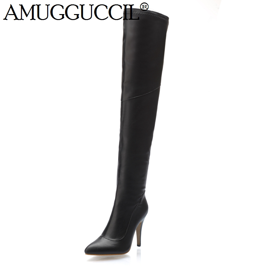 High Quality Plus Big Size 34-45 Black Red Over The Knee Sexy Thigh High Heel Autumn Winter Female Lady Womens Boots X1253 2016 brand new winter sexy women thigh high fur boots black gray lady over the knee shoes chunky heel etc02 plus big size 10 43