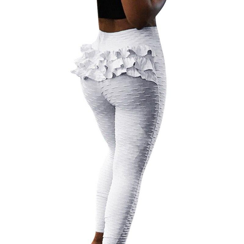 Vertvie Fitness Yoga Sports Female Leggings Sports Running Leggings Sport Tights for Women Ruffles Lace Hip Slim Pants