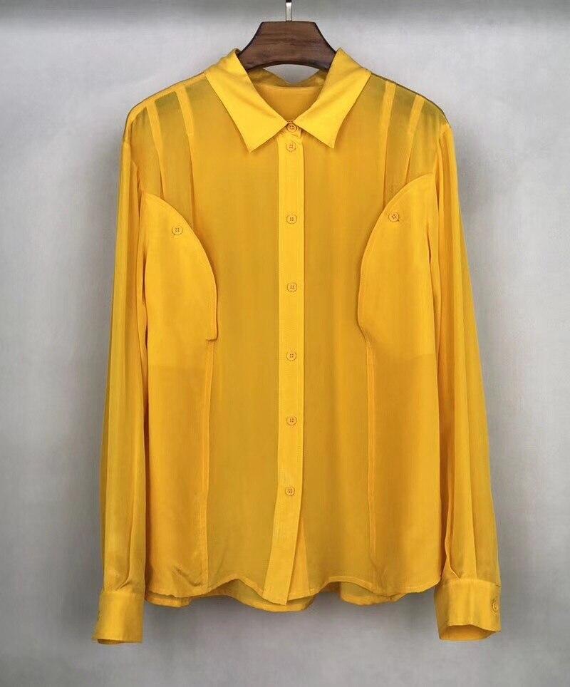 Free Shipping 2018 New Arrival Summer Shirt For Women Turn-Down Collar Long Sleeve 100% Silk Yellow Women Shirt
