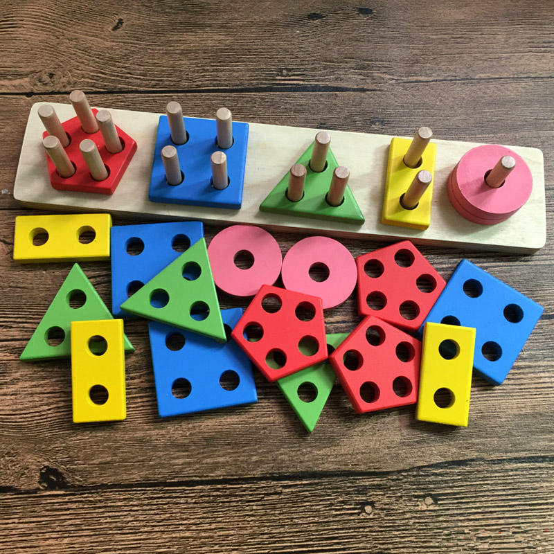 Wooden Toy Geometry Building Blocks Baby Learning jeu de construction bois plaquette Educational Stacking Jigsaw Toy Funny Gift abacus sorob baby puzzle wooden toy small abacus handcrafted educational toy children s wooden early learning kids math toy mz64