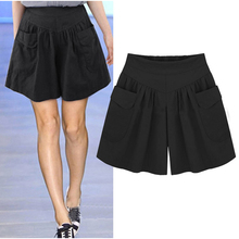 2019 Women Plus Size High Waist Shorts Summer Loose Casual Fashion Skorts Beach Large For