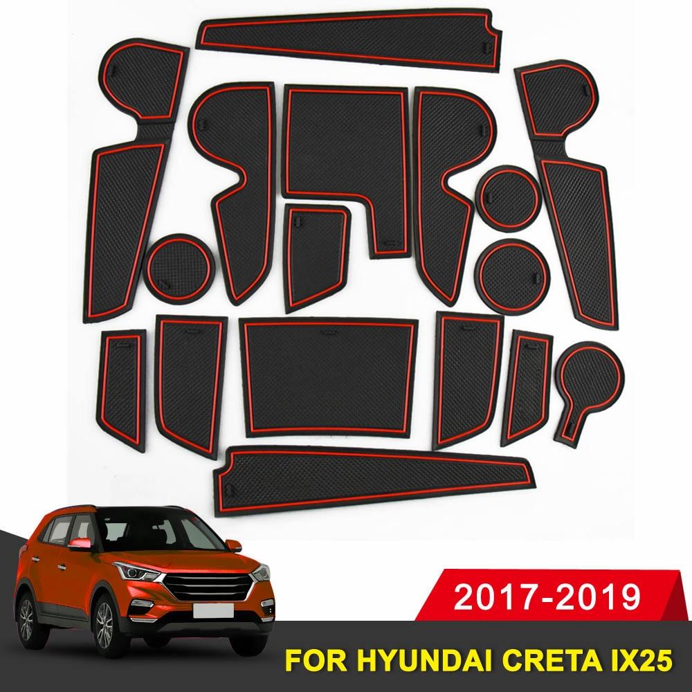 17 PCS For Hyundai Creta IX25 Car Door Groove Mat Gate Slot Pad Rubber Non-slip Mat Interior 2017 2018 2019 Car Accessories