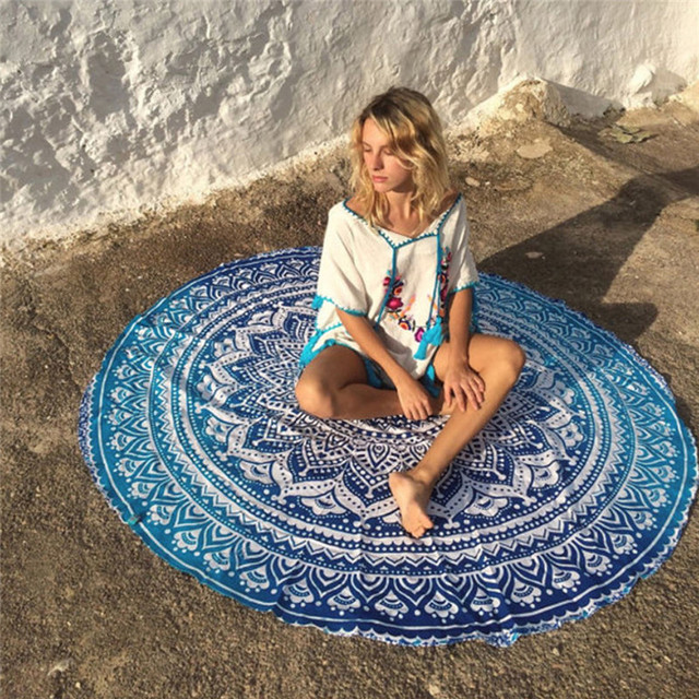 Round Yoga Blanket Polyester Lotus Flowers Beach Towel Blankets