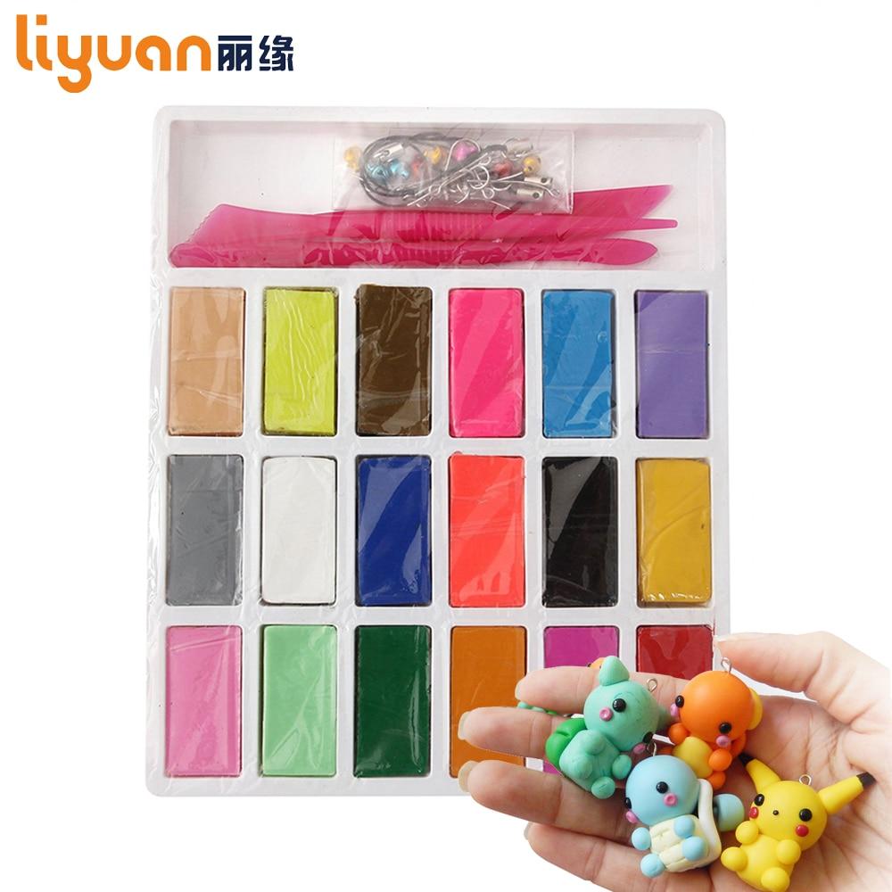 3 Werkzeuge + Liyuan Ofen backen Polymer Clay Figuline 18 Farben FIMO DIY Modellierung Weichen Ton Set Ungiftig Spielzeug für Kinder