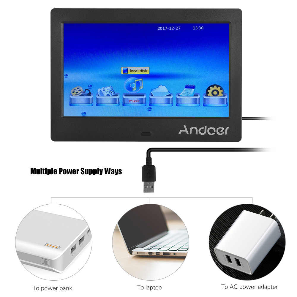 "Andoer 7"" IPS HD Screen 1024*600 Digital Photo Frame Music Video Playing Clock Alarm Calender Multiple Language Remote Control"